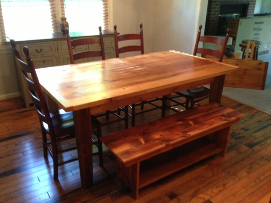Reclaimed Wood Table with PDD Chairs. Pennsylvania Dutch Design