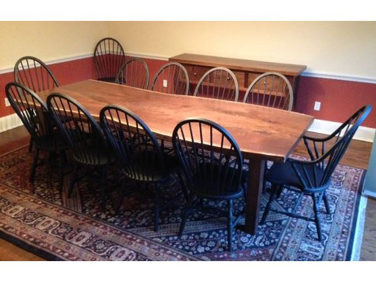Black Walnut Slab Table with Chairs & Sideboard